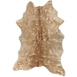CALF HIDE RUG - METALLIC DEVORE - GOLD