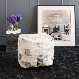 COWHIDE POUFFE - SALT & PEPPER BLACK