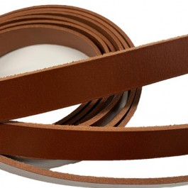 VEGETABLE TANNED LEATHER STRIPS - COGNAC