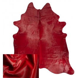 DYED COWHIDE RUG CHERRY RED