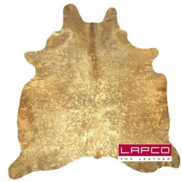 METALLIC DEVORE COWHIDE RUG GOLD ON BEIGE
